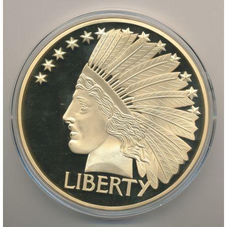 Médaille 100mm - Reproduction Dollar Tête d'Indien - cuivre doré