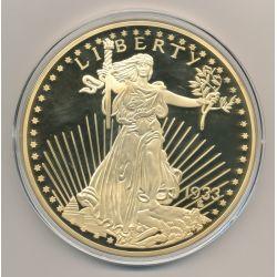Médaille 100mm - Reproduction 20 Dollars Liberty 1833 - cuivre doré