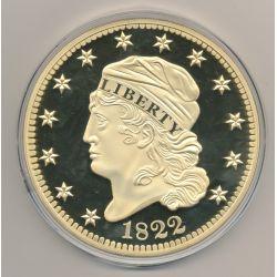 Médaille 100mm - Reproduction 5 Dollars 1822 - cuivre doré