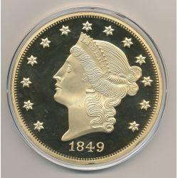 Médaille 100mm - Reproduction 20 Dollars 1849 - cuivre doré