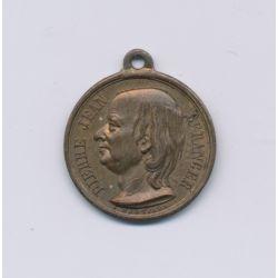 Médaille - Pierre Jean Béranger - 1857 - laiton - 17mm - TTB+
