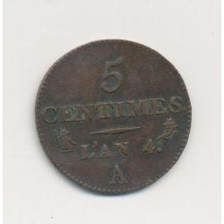 5 Centimes Dupré - AN 4 A Paris - TTB+ - Petit module