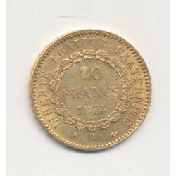 Génie - 20 Francs Or - 1874 A - TTB+