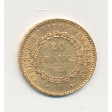 Génie - 20 Francs Or - 1874 A