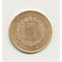 Génie - 20 Francs Or - 1893 A - TTB+