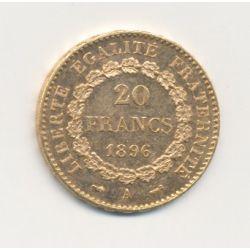 Génie - 20 Francs Or - 1896 A Paris - 3e République