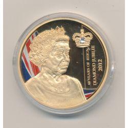 Médaille 50mm - Elisabeth II - 60 ans de règne - diamond jubile - cuivre doré - 41mm