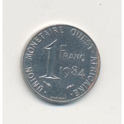 Union monétaire Ouest Africain - 1 Franc - 1984 - acier inox - SUP