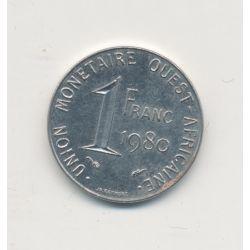 Union monétaire Ouest Africain - 1 Franc - 1980 - acier inox - TTB+