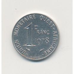 Union monétaire Ouest Africain - 1 Franc - 1978 - acier inox - TTB+