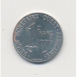 Union monétaire Ouest Africain - 1 Franc - 1977 - acier inox - TTB+