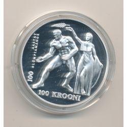 Estonie - 100 Krooni 1996 - Centenaire Jeux Olympique - argent