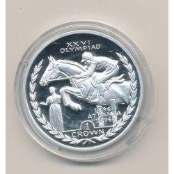 Ile de Man - 1 Crown 1996 - équitation - Jeux olympique 1996 - argent