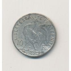 10 Francs Coq Marianne - 1907 - Faux en platine - 1,5g - TTB