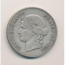 Suisse - 5 Francs - 1891 B Berne  - argent - TB+