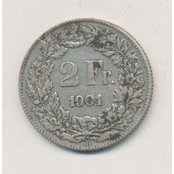 Suisse - 2 Francs - 1901 B Berne - argent - TB/TB+