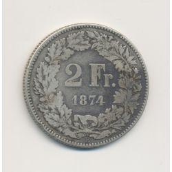 Suisse - 2 Francs - 1874 B Berne - argent - TB/TB+