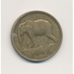 Congo Belge - 2 Francs 1946 - éléphant - Laiton - TTB