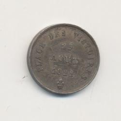 Médaille - Place des victoires - 25 aout 1822 - statue équestre Louis le grand - 15mm - TTB+