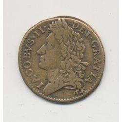 Irlande - 1 Shilling 1689 - Jacques II - bronze - TB+