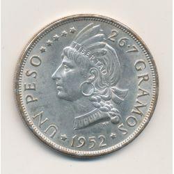 République Dominicaine - 1 Peso 1952 - argent - TTB+/SUP