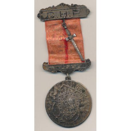 Médaille Maçonnique - Loge Strafford - agarafe avec épée