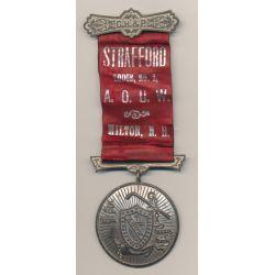 Médaille Maçonnique - Loge Strafford - ruban rouge et noir - Missouri - Etats-Unis