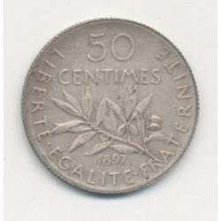 50 Centimes Semeuse - 1897 - Flan mat