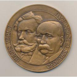 Médaille - Jules Verne et Georges Clémenceau - Association amicale des anciens élèves des lycées de Nantes - bronze - 80mm - SUP