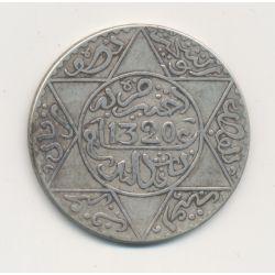 Maroc - 5 Dirhams - 1320/1903 Londres - argent - TTB