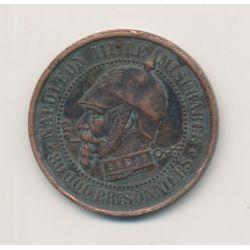 Monnaie satirique - Module 5 centimes - Napoléon III - Vampire Français - TTB