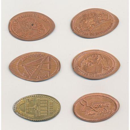 Lot de 6 monnaies écrasées - Touristiques