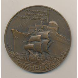 Médaille - Champlain - Compagnie générale transatlantique - 1932 - bronze - 68mm