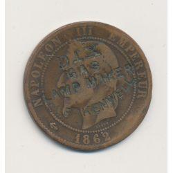 Monnaie publicitaire - 10 centimes 1862 Napoléon III - Dix gas lamp maker