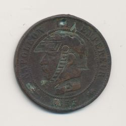 Monnaie satirique - 10 centimes 1855 D - regravé casque à pointe - troué - TB