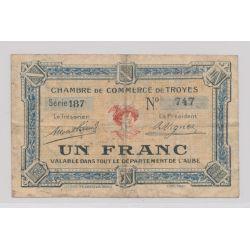 Dept 10 - 1 Franc 1918 - Troyes - série 187 - TB