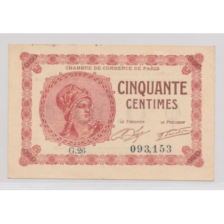 Dept75 - 50 Centimes 1920 - Paris - G.26 - TTB+