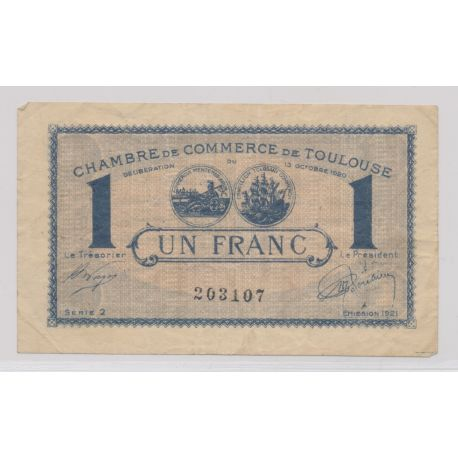 Dept31 - 1 Franc 1921 - Toulouse - TB