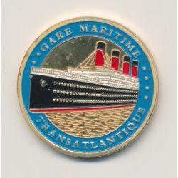 Médaille - Titanic - Cité de la mer - Cherbourg - 32mm - contour bleu