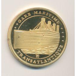 Médaille - Paquebot Transatlantique - gare maritime - Cité de la mer - Cherbourg - 32mm