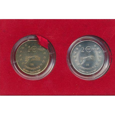 Coffret - 1 et 2 Euro - Cherbourg - 1997