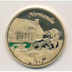 Médaille - Normandie et vache à droite - en couleur - 34mm