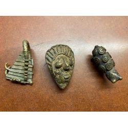 Lot N°3 - 3 Poids à peser l'or - Ghana - bronze/laiton