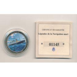 Libéria - 5 Dollars 2006 - Titanic - maillechort avec autocollants - 35mm - FDC