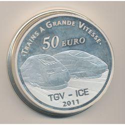 50 Euro 2011 - TGV Gare de metz - 5 once argent - SUP