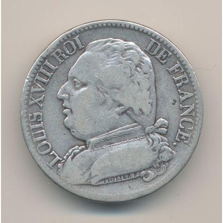 5 Francs Louis XVIII - Buste habillé - 1814 M Toulouse - TB