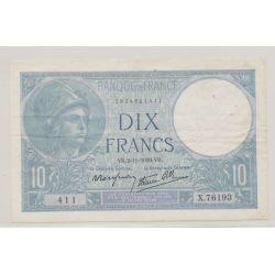 10 Francs Minerve bleu - 2.11.1939 - X.76193 - TTB+