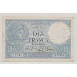 10 Francs Minerve bleu - 28.9.1939 - N.72