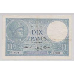 10 Francs Minerve bleu - 5.10.1939 - D.73811 - TTB