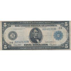Etats-Unis - 5 Dollars 1914 - Abraham Lincoln